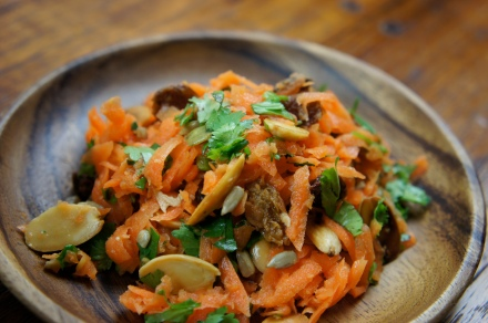 Curry night sides: citrusy carrot salad with herbs and toasted almonds