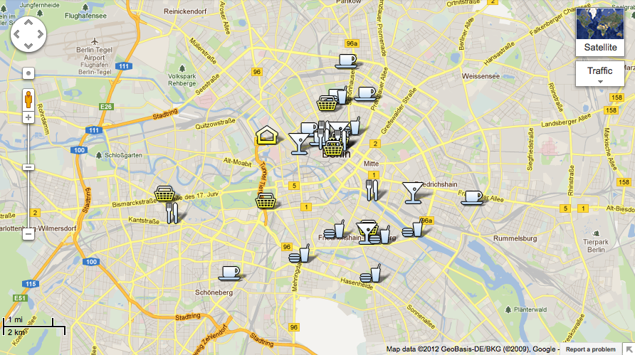 Berlin map city centre detailed street travel guide of hotels.